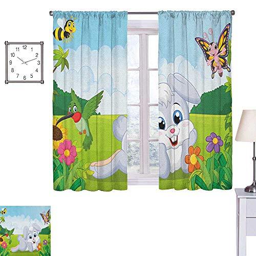 Kinderen Thermische Isolerende verduisterende gordijn verf penseelstreken in horizontale richting pastel kleur patroon voor meisjes kinderen 55