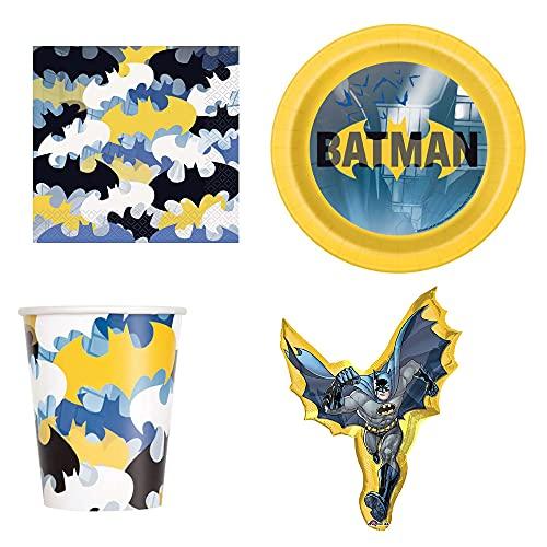 Juego de vajilla Batman para 8 personas – platos, vasos, servilletas, globo