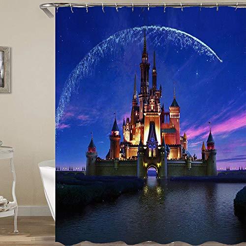 vrupi Stilvolle und schöne Konzeption von Disney Castle wasserdichtes Badezimmer Duschvorhang Schlafsaal Dekoration Badezimmerfenster 71x71 Zoll Polyester Gewebe einschließlich 12 Kunststoffhaken