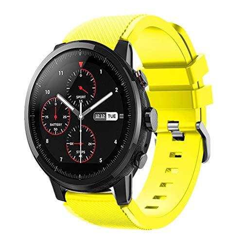 DIPOLA Correa de Correa de Reloj Deportivo Suave de Silicagel para Reloj Inteligente Amazfit Stratos 2S—Amarillo
