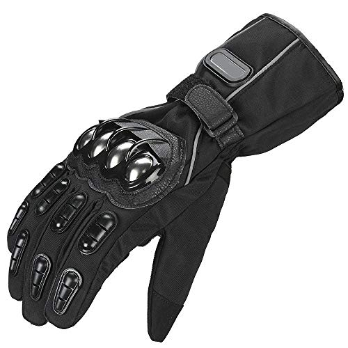 Steel Outdoor Reinforced Brass Knuckle Motorcycle Motorbike Powersports Racing Textile Safety Gloves (M, All-Black)