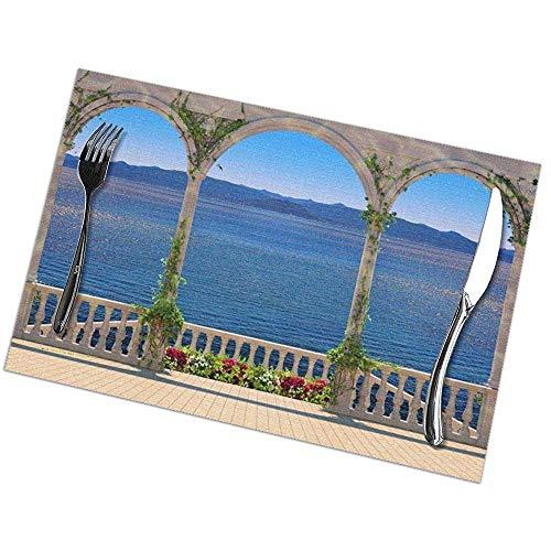 Paleis Balkon aan Lake Print Placemats - Eettafel Plaats Matten Set van 6 Gemakkelijk te reinigen anti-slip hittebestendig