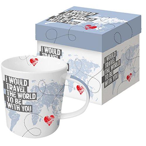 PPD 9,5 cm O Trend Tasse en Porcelaine dans Une boîte Cadeau de Voyage Monde/Blanc/Light Bleu/Rouge/Noir/Gris
