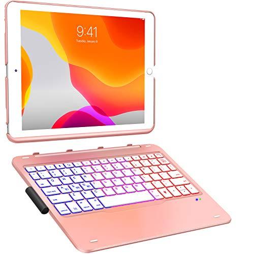 ipad 8世代 キーボード 2020 iPad 10.2 キーボード ケース第7世代2019モデル Bluetoothキーボードカバー343 DIY/七色バックライト付き オートスリープ機能 ペンシルホルダー付き ワイヤレス 一体型脱着式スマート軽量ケースキーボード [ iPad 10.2/iPad Air3/Pro 10.5(2017)兼用](ローズ)