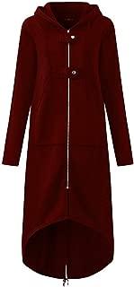 Women Plus Size Irregular Long Coat Hooded Robe Zipper Jacket Oversized Overcoat