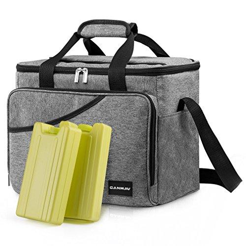 CANWAY Faltbar Thermotasche Picknicktaschen Cooler Bag Kühltasche 40-Dosen Große Isoliertasche mit 2 Eisdosen für Reisen Outdoor Wandern Grillen Party Grau