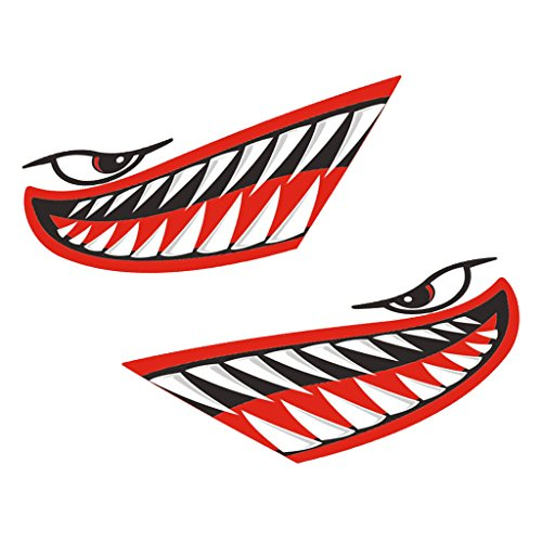 MagiDeal 2 Pieces Waterproof Vinyl Shark Teeth Mouth Eyes Funny Decal Sticker Kayak Canoe Fishing Boat Car Truck Bike Motorbike Aircraft Graphics Accessories - 3 Colors - Red