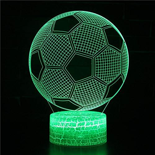 Balón de fútbol azul Luz Noche para Niños LED lámpara de ilusión Luz de noche 3D Niños 7 Colores Lámpara de Escritorio de la carga USB para las decoraciones del hogar/de la oficina