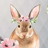 Anna Wand Bordüre selbstklebend Friendly Forest - Wandbordüre Kinderzimmer/Babyzimmer mit mehrfarbigen Waldtieren auf Grau – Wandtattoo Schlafzimmer Mädchen & Junge, Wanddeko Baby/Kinder