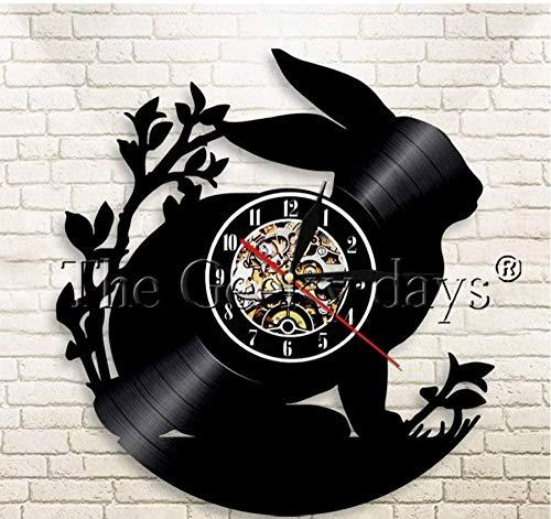 Vinyl wandklok mooie konijnen dieren modern design lp handgemaakte vintage verlichte woondecoratie cadeau voor kinderen 12 inch 12 inch vinyl wandklok