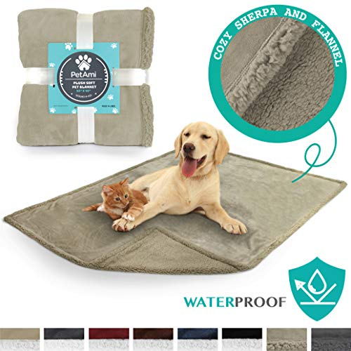PetAmi Waterproof Dog Blanket for Couch, Sofa | Waterproof Sherpa Pet Blanket for Large Dogs, Puppies | Super Soft Washable Microfiber Fleece | Reversible Design | 50 x 40 (Taupe/Taupe)
