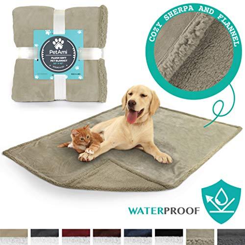 PetAmi Premium Waterproof Soft Sherpa Pet Blanket by Cozy, Comfortable, Plush, Lightweight Microfiber, 100% WATERPROOF (50