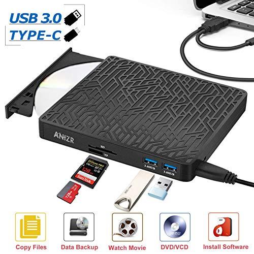 ANIZR Externes DVD CD Laufwerk USB 3.0 Typ C DVD/CD RW Brenner mit TF SD Reader Slot Externes Laufwerk für Laptop Desktop PC Mac OS, MacBook, Windows 10/8/7/XP/Vista
