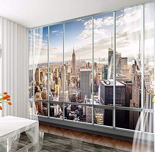 Rureng Benutzerdefinierte Wallpapers 3D Stereo Wandgemälde Modernes Virtuelles Fenster Living Sofa Bed Schlafzimmer New York Hintergrund-200X140Cm