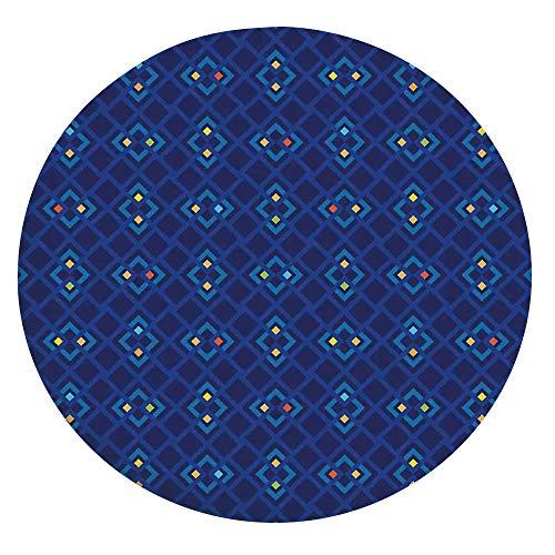 Mantel de mesa resistente a las manchas, con bordes elásticos, geométricos, cuadrados, diseño abstracto colorido, para mesas redondas de 24 pulgadas, para comedor y cocina, azul, naranja y amarillo