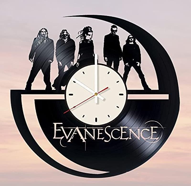 Pieceful Evanescence Rock Band Vinyl Record Wall Clock Artwork Gift Idea For Birthday Christmas Women Men Friends Girlfriend Boyfriend And Teens Living Kids Room Nursery White White