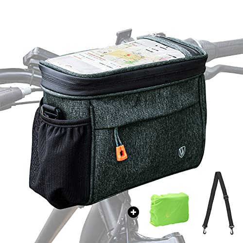 Borsa da manubrio per bicicletta, impermeabile, borsa per bicicletta, cestino anteriore con schermo touchscreen da 6,7', borsa a rete, tracolla antipioggia, tessuto twill twill da 4,2 l