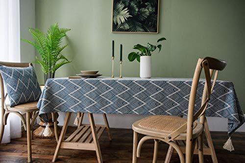 Epinki Mantel Forma de Onda Jacquard 4 Borlas Azul Marino Mantel Poliéster para la Decoración de la Mesa de Comedor de Cocina Tamaño 135x300CM