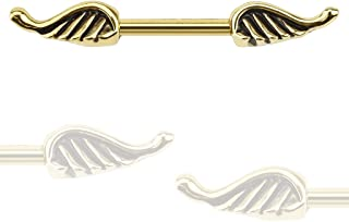 Angel Wings Gold IP Over 316L Surgical Steel Freedom Fashion Nipple Bar