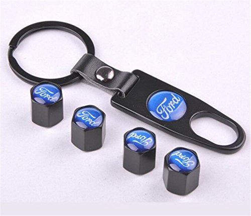 Bestmay - Juego de tapones para válvula de neumático de coche, cromado, para Ford con llavero