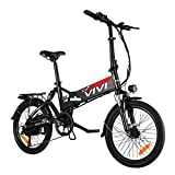 VIVI Folding Electric Bike, 20'' Adult Electric Bicycles/City Bike 350W Ebike, Electric Commuter Bike with Removable 8Ah Battery, Shimano 7 Speed, Full Suspension