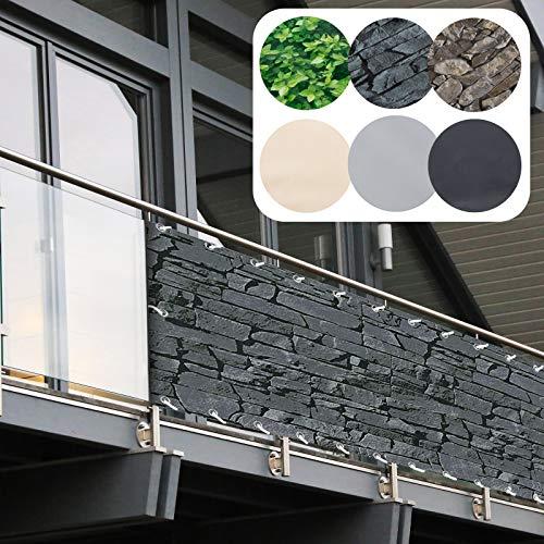 Balkon Sichtschutz PVC | 90x600 cm | Extra Blickdicht | Balkonverkleidung aus wetterfestem Kunststoff mit UV-Schutz | Deko für Balkongeländer, Terrasse & Garten | viele Farben & Designs (Schiefer)