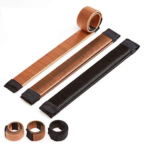 Original Dutt Maker Hilfe - Haarknoten Spange zum Stylen für dicke und dünne Haare - Echthaar 3er Set (Gold, Braun und Schwarz)