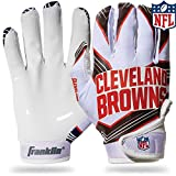 Franklin Sports Cleveland Browns Youth NFL Football Receiver Gloves - Receiver Gloves For Kids - NFL Team Logos and Silicone Palm - Youth M/L Pair