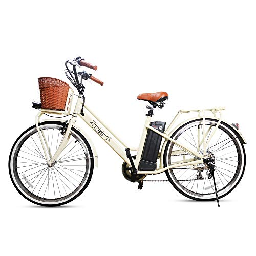 Trekpower 250W Electric Bike 26' Ebike for Female 6 Speed Electric Bikes for Adults with Basket, City Electric Bikes for Women with 36V 12AH Removable Battery, Beige