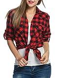 Zeagoo Camisas A Cuadros Blusa de Manga Larga Casual Camisetas de Rojo