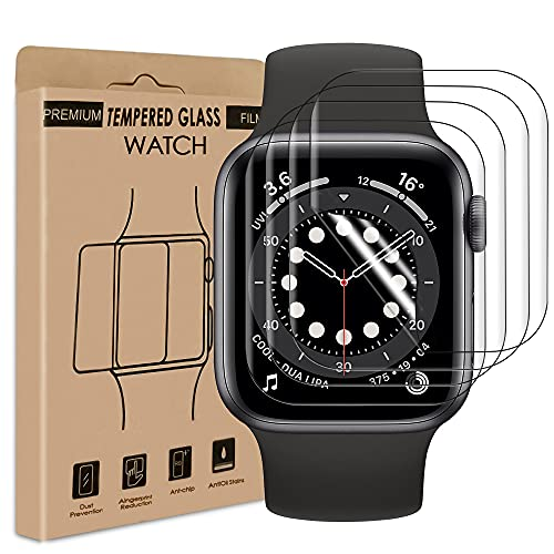 wsky [4 Stück] Panzerglas Schutzfolie für Apple Watch Series 4/5/6 SE 40mm, Anti-Kratzer, HD Klar Displayschutzfolie, Wasserfreie Adsorption Flexible Screen Protector Panzerglasfolie
