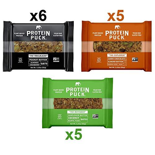 Protein Puck 3 Flavor Protein Bar Variety Pack (6 Peanut Butter, 5 Almond Butter, 5 Sunflower Butter)