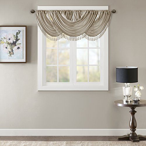 "Elena Waterfall Embellished Rod Pocket Valance , Faux Silk Valances for Window , 38X46"" , Champagne"