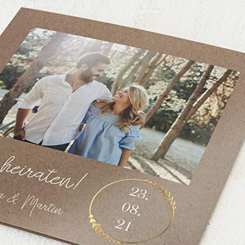 sendmoments Hochzeit Einladungskarten, Erdgebunden, 5er Klappkarten-Set quadratisch, personalisiert mit Text & Fotos, mit Gold Veredelung, optional passende Design-Umschläge