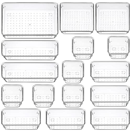 Set di 16 Scatole Stoccaggio - Organizzatore de Cassetto Trasparente, Multifunzionale Portaoggetti da Scrivania Cassetto Organizer 5 Dimensioni per Cucina, Ufficio Scrivania, Toletta, Bagno, Armadio