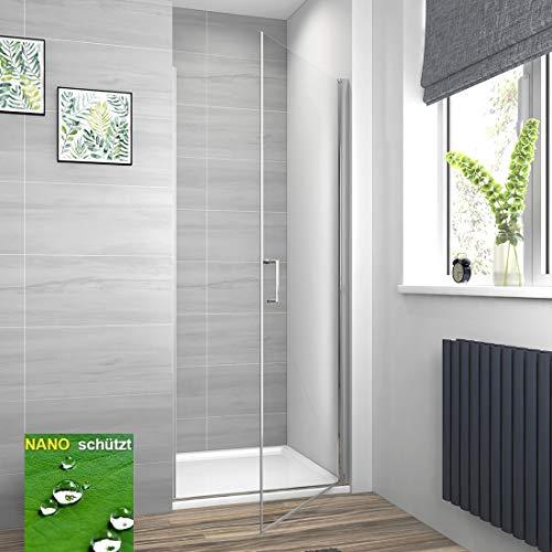 Meykoe Duschkabine Duschtür 90x185cm Duschabtrennung Schwingtür, Duschwand Pendeltür 6mm Sicherheitsglas mit Nano Beschichtung, Platzsparend Rahmenlos ohne Duschtasse