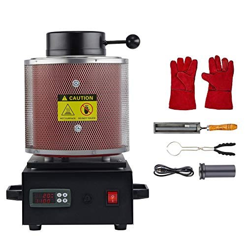 CO-Z 1750W Electric Gold Melting Furnace with Mesh Guard, 2100F Digital Metal Smelting Machine, Metal Casting Kit with Gold Silver Copper Bronze Lead Melting Pot Crucible and Tongs, 6.6lb Cap