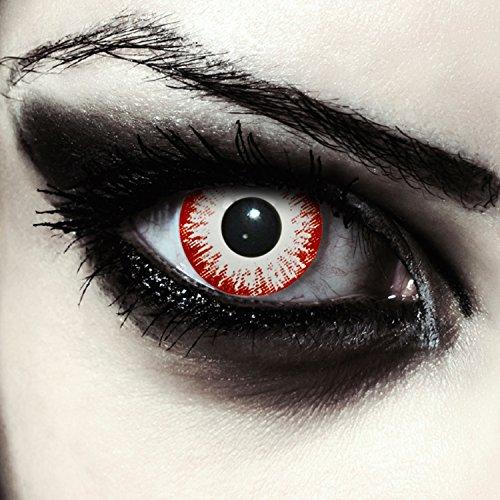 Weiße/Rote farbige Zombie Kontaktlinsen ohne Stärke für Halloween Karneval Kostüm, 2 Stück, Designlenses, Model: Zombie Fear
