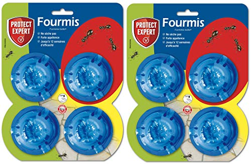 PROTECT EXPERT FBOIT4NX2 Anti-Fourmis Lot de 2 X 4 Boîtes appâts, Efficient