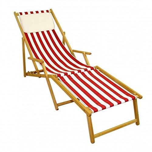 Erst-Holz Gartenliege rot-weiß Sonnenliege Relaxliege Fußteil Kissen Buche Natur klappbar 10-314 N F KH