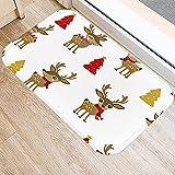 HLXX Weihnachten Schneeflocke Elch Muster Küche Eingangstür Matten Korallen Samt Teppich Gummi Indoor Boden Rutschfester Teppich A7 40x60cm