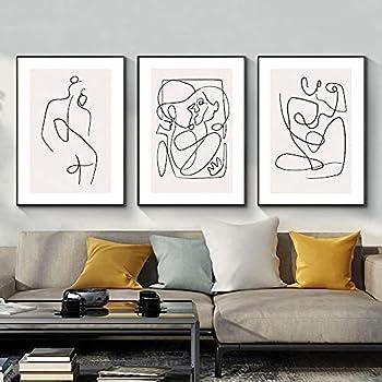 Minimalist Line Wall Art Decor Set of 3 Minimalist Wall Art Female Poster Line Drawing Wall Art Women Body Abstract Line Drawing Print For Living Room Bedroom Bathroom Home Wall Decor