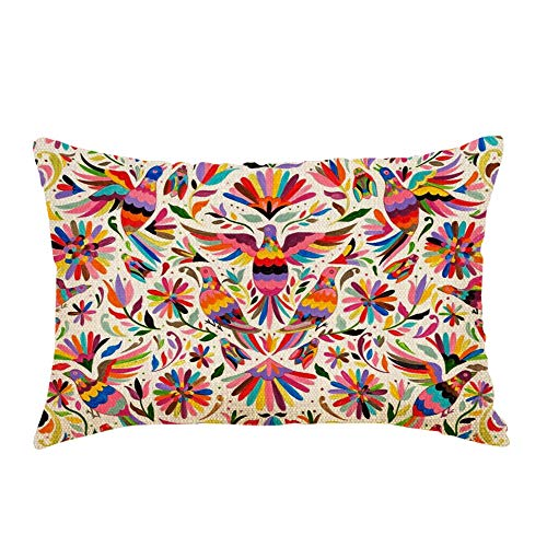 Nicokee Throw Pillow Cover Mexican Design Colorful Pigeons Pheasant Decorative Pillow Case Home Decor 20x12 Inches Pillowcase