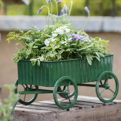Green Iron Flower Cart Planter Home Garden Tricycle Plant Pot Stand Holder Ornamental Pot Handmade for Outdoor Decoration