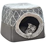 NIBESSER Katzenhöhle Katzen Haus Katzenbett Haustier Pet Nest Schlafsack 2 in 1 Faltbar