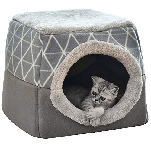 JuneJour Katzenhöhle Katzenbett mit Super Weichem Flauschigem Innerkissen Abwaschbar Katzenzelt Katzenkorb zum Schlafen für Katze Hunde