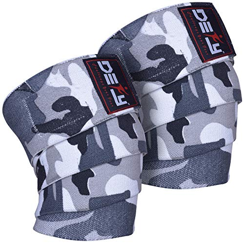 DEFY Sports Weight Lifting Knee Wraps (1 Pair) for Cross Training WODs, Gym Workout, Fitness & Power Lifting- Knee Straps Squats - for Men & Women- 72'-Compression & Elastic Support (Grey Camo)
