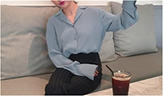 Womens Tops And Blouses Office Shirt Blouse 2021 Long Sleeve Women Shirts Clothes (Color : Blue, Size : X-Large)