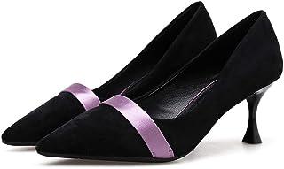 [Date U] パンプス ビジネスシューズ レディース靴 ピンヒール ポインテッドトゥ ストレートチップ ドット柄 オシャレ ブラック 黒色 オフィス 通勤 お出かけ ウォーキング 通気性 歩きやすい 7.5cmハイヒール