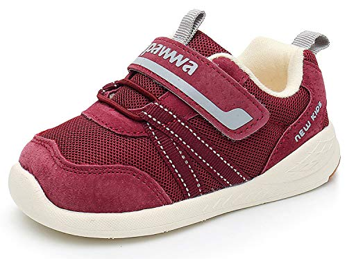 Ahannie Jungen und Mädchen Leder Sneaker, Unisex-Kinder Outdoor Laufschuhe, Baby Gymnastikschuhe (Color : Weinrot, Size : 23 EU)